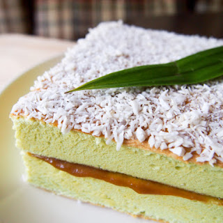 Pandan Coconut Cake with Kaya.