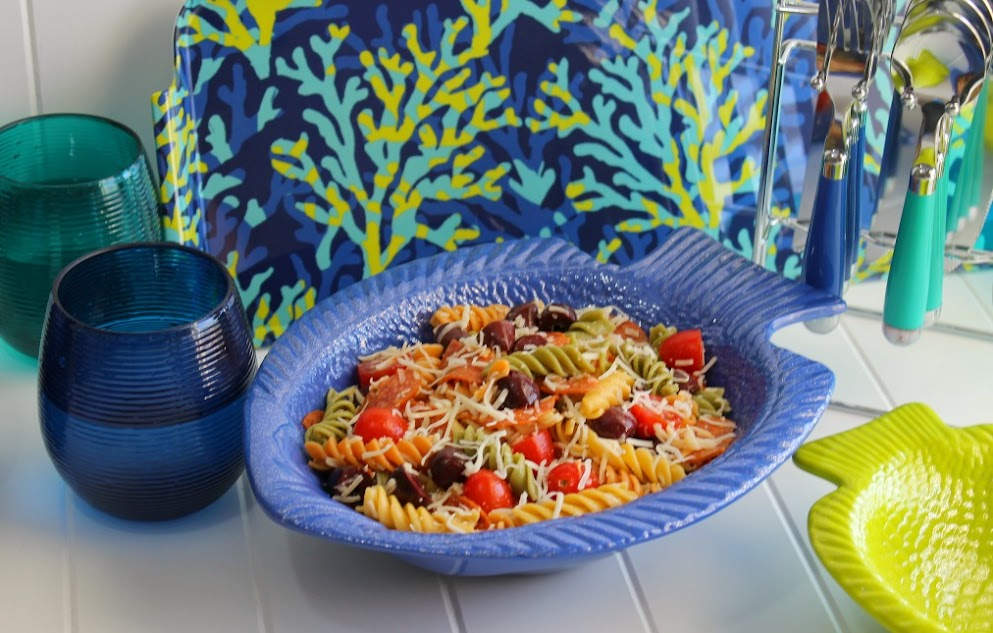 Set the perfect end-of-summer party table with adorable under the sea-inspired serving ware and serve up this Pizza Pasta Salad