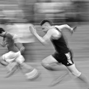 Sprint by Luke Aylen - Sports & Fitness Running ( black and white, panning shot, runners, men, sprint, run, running, pan )