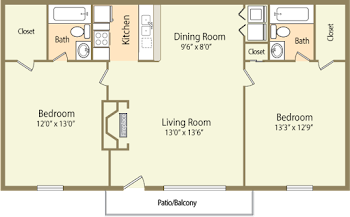 Go to Two Bed, Two Bath Garden Floorplan page.