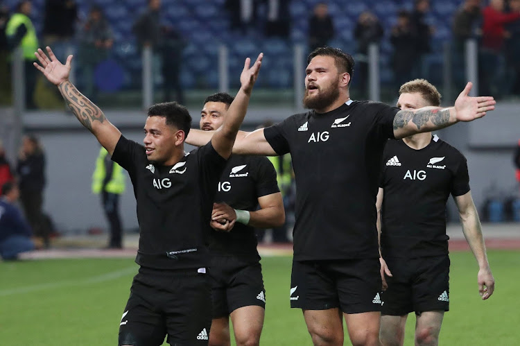New Zealand players celebrate after the match crushing Italy in Stadio Olimpico, Rome, Italy.