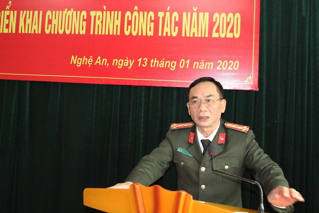 Đồng chí Đại tá Lê Xuân Hoài – Phó Giám đốc Công an tỉnh phát biểu chỉ đạo Hội nghị