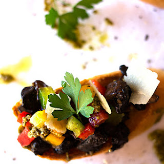 Bruschetta with Brown Mushrooms, Peppers and Coriander Pesto.
