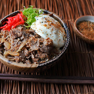 Gyudon (Japanese Simmered Beef and Rice Bowls).