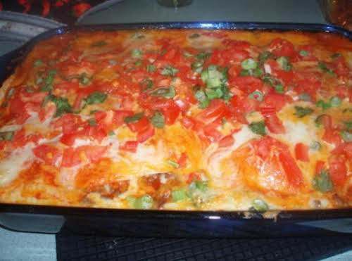 "Robin's Enchilada Pie ""I made this for Saturday lunch along with refried..."