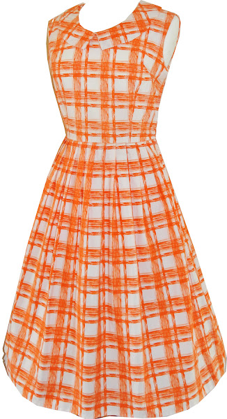 Photo: Sweet picnic checked orange and white 1950's cotton frock