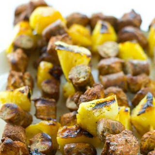 Grilled Jerk Chicken Pineapple Sausage Kabobs