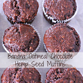 Banana Oatmeal Chocolate Hemp Seed Muffins.