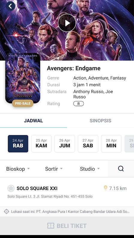 Jadwal Bioskop Di Solo Square : jadwal, bioskop, square, Tiket, Avengers, Endgame, ASEDINO