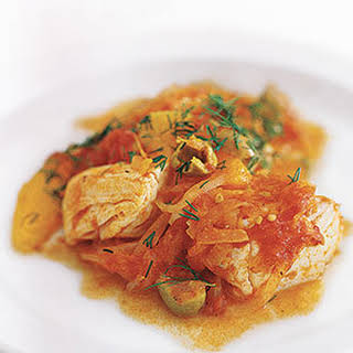 Halibut With Tomato, Orange, and Dill.