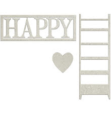 FabScraps Lavender Breeze Die-Cut Chipboard - Happy W/Heart & Ladder