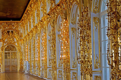 Fillagree lights in Catherine Palace in Pushkin, outside of St. Petersburg, Russia.