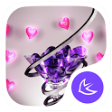 New purple crystal heart APUS launcher free theme icon