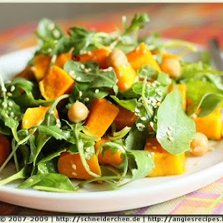 Roasted Butternut Pumpkin with Chickpeas and Rocket Salad