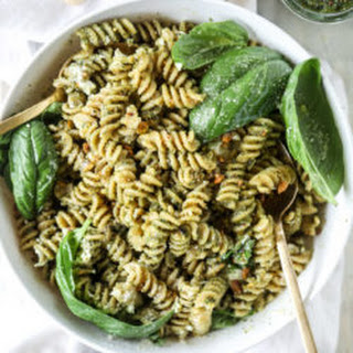 Pistachio Basil Pesto Pasta Salad with Burrata.
