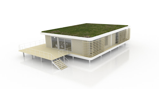 terrasse basse et toiture végétalisée