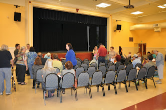 Photo: Poets beginning to gather at the auditorium. We had about 85 people in attendance.