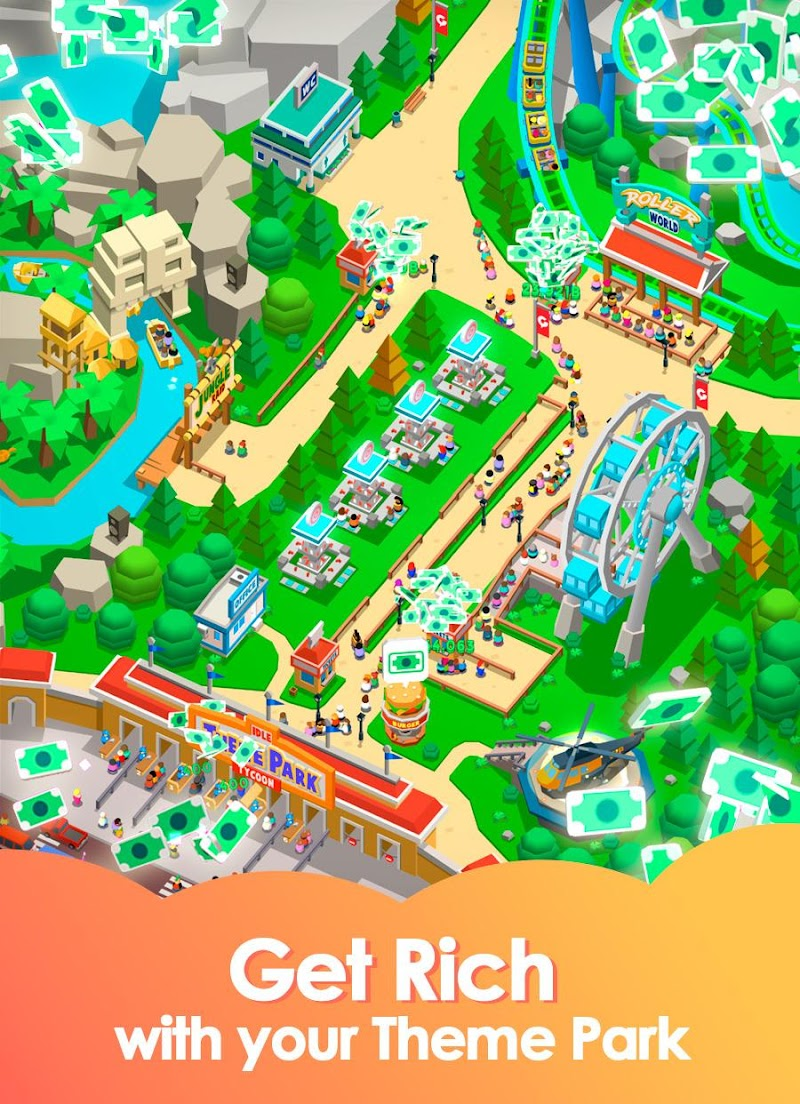 Idle Theme Park Tycoon - Recreation Game Screenshot 1