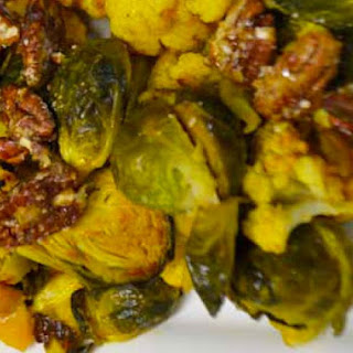 Asian Cauliflower with Brussels Sprouts and Caramelized Pecans.