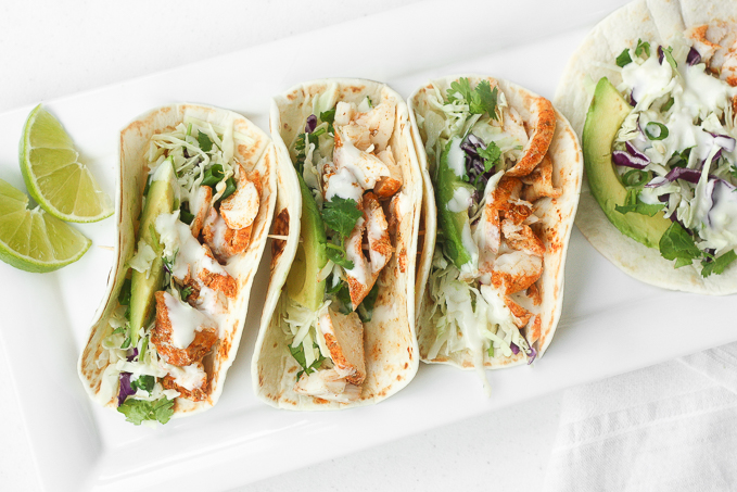 Easy Fish Tacos with Lime Crema Recipe
