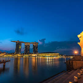 Merlion and Marina Bay Sands in blue hour by Ketan Vikamsey - Buildings & Architecture Statues & Monuments ( pic of the day, natgeoyourshot, natgeohd, long exposure, fotorbit, natgeo, instaasia, photo of the day, marina bay sands, bbctravels, blue hour, ketan vikamsey, canon5dmarkiv, canonusa, wonderful places, singapore tourism board, lonelyplanet, lonelyplanetmagazineindia, worldphotographicforum, merlion, canonphotography, striking singapore, kv kliks, natgeotravel, nisifilter, visit singapore, travel the world pix )