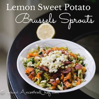 Paleo Brussels Sprouts Recipe with Lemon, Bacon, and Sweet Potatoes