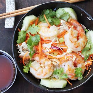 Skillet Rice Noodle Bowl with Shrimp and Vegetables.