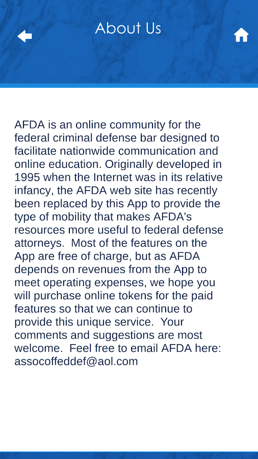 AFDA APP- screenshot