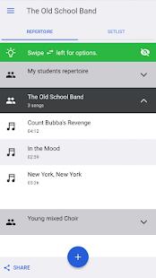 band music setlist - náhled