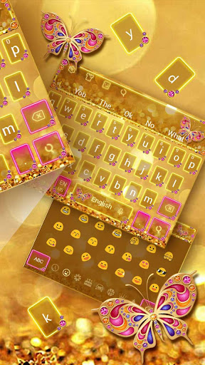 Golden Butterfly Keyboard Theme 10001001 screenshots 2