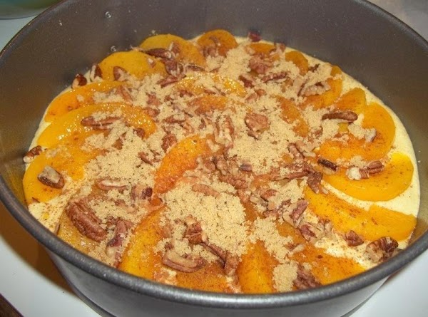 Place peaches in a circular order; around the edges first then fill in the...