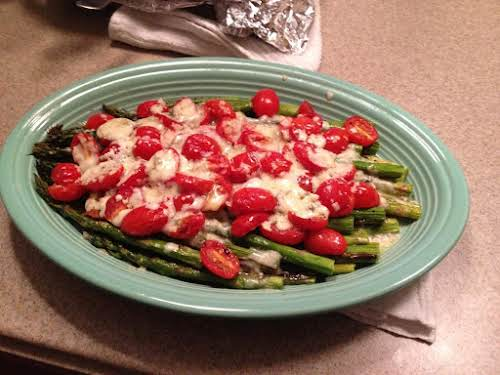 "Roasted Asparagus with Tomatoes and Gorgonzola ""I can't seem to find Morton's..."