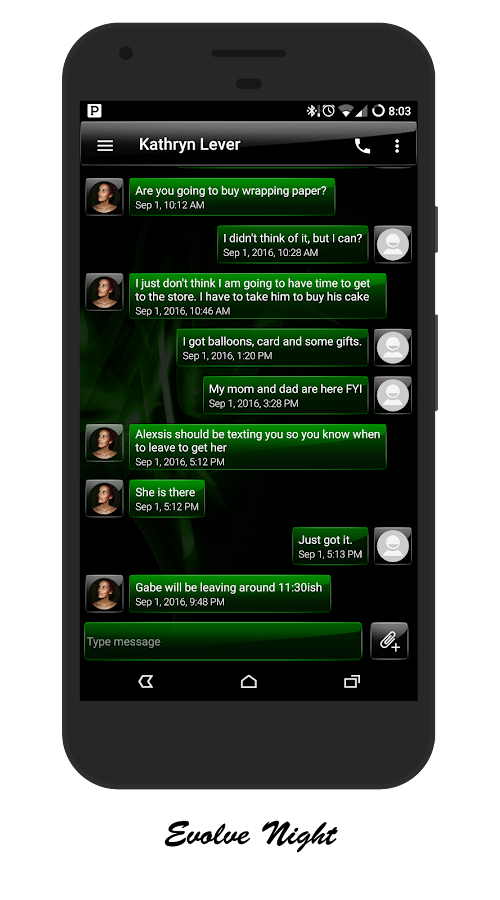 Green GO SMS / EvolveSMS Theme- screenshot