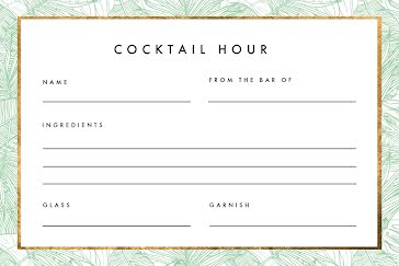 Cocktail Hour - Recipe Card Template
