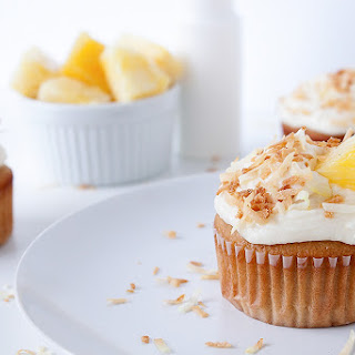 Piña Colada Cupcakes with Coconut Frosting