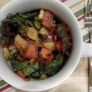 Red Wine & Worcestershire Sautéed Squash, Sweet Potato & Chard with Quinoa
