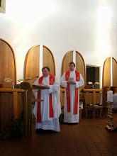 Photo: Přivítání pana velistra a přítomných spirituálem školy P. Metodějem