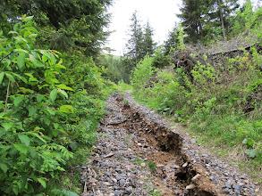 Photo: 17.Dalej idzie się gruntową drogą dość mocno zniszczoną przez spływający potok (który już zdążył wyschnąć).
