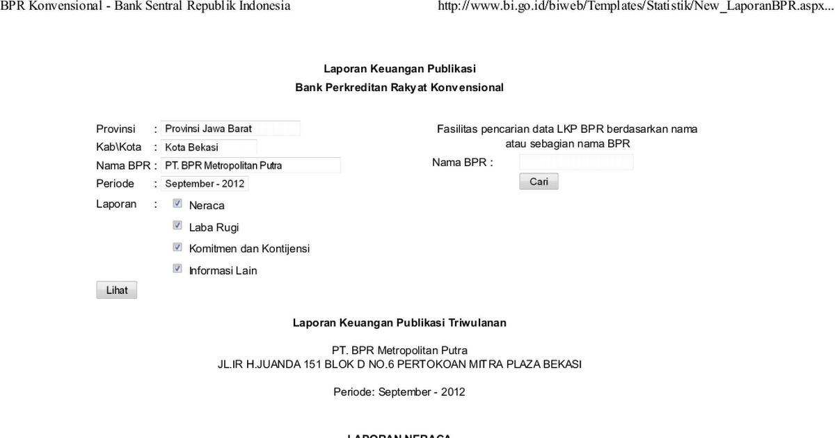 Bpr Konvensional Bank Sentral Republik Indonesia Pdf Google Drive