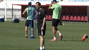 Fran Fernández en el entrenamiento de este jueves.