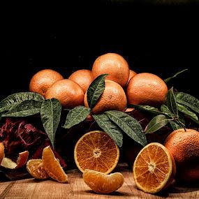 orange by Alex supertramp Bukowski - Food & Drink Fruits & Vegetables ( orange, still life, arancia, photo, photography, lefotodialex, light painting, nature, d750, foliage, natura morta, my dream, follow me, dipinto, nikon, light, passion )
