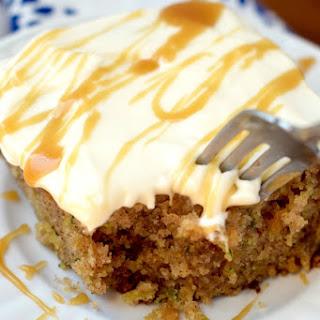 Caramel Zucchini Spice Poke Cake
