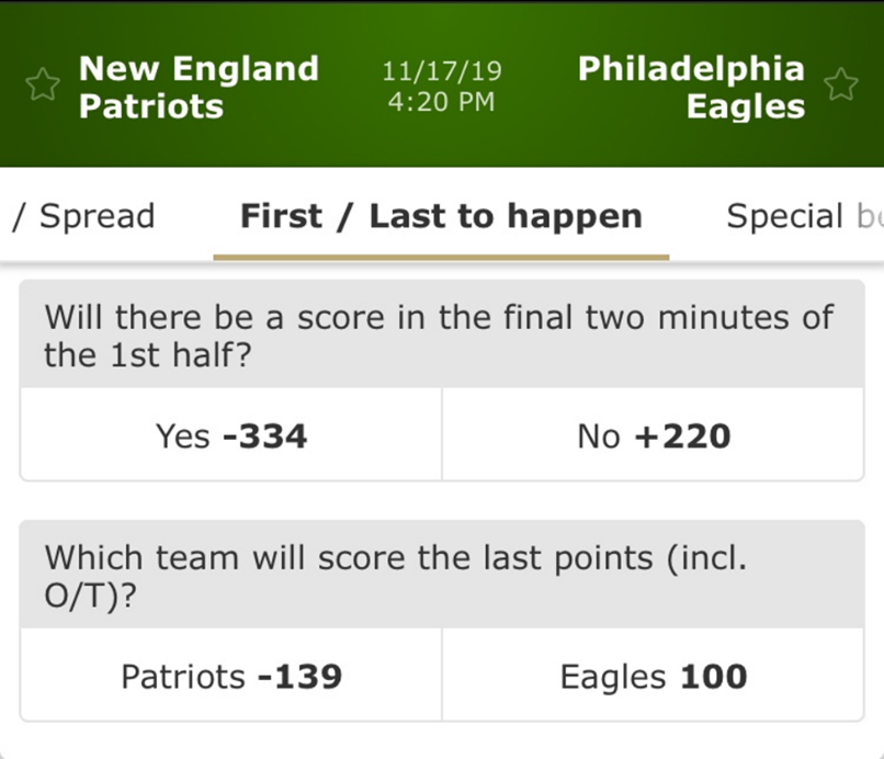 prop bets patriots vs eagles betmgm