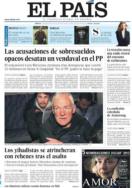 Photo: Las acusaciones de sobresueldos opacos desatan un vendaval en el PP y los yihadistas se atrincheran con rehenes tras el asalto en Argelia, en la portada de EL PAÍS, edición nacional, del sábado 19 de enero de 2012http://cort.as/3D9w