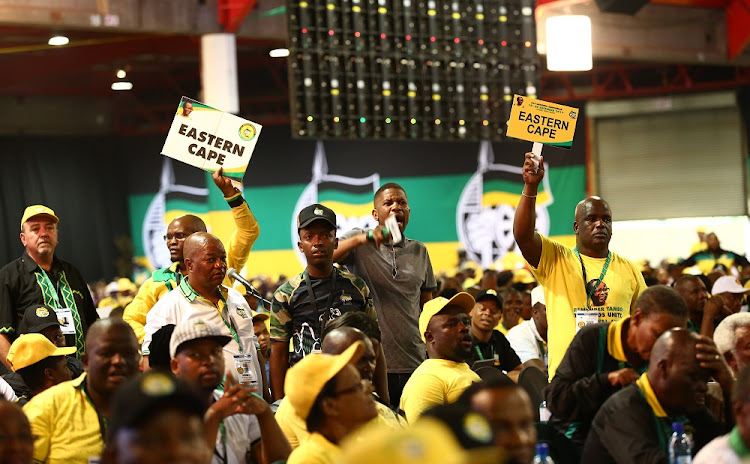 Members of the Eastern Cape delegation raise an objection during the 54th ANC National Elective Conference held at Nasrec.