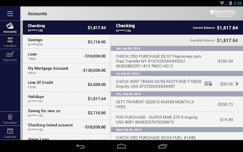 HPCU Mobile Banking for Tablet- screenshot thumbnail