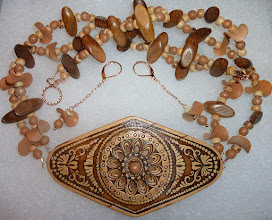 Photo: HUTSULKA - ГУЦУЛКА - carved birch bark pendant, clay, wood, bone, rose gold vermеil toggle clasp/chains/lever backs $160/set now $140/set SOLD