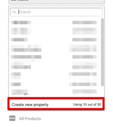 To add website in google analytics select new property.