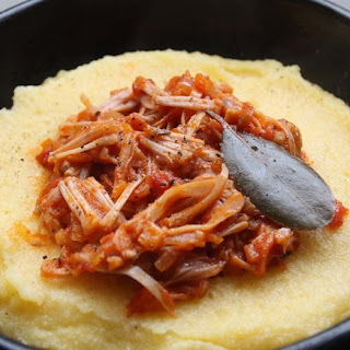 Vegan Jackfruit Pulled 'Pork' Tomato Ragu over Soft Polenta