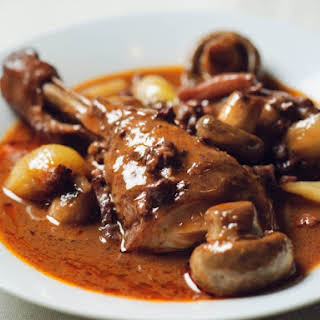 Slow Cooker Traditional Style Coq Au Vin.